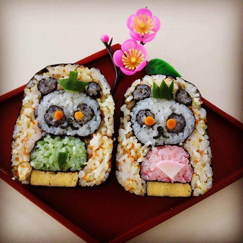 2月9日金曜日  11時~飾り巻き寿司でパンダお雛様